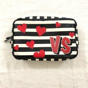 Victoria Secret Striped Large Heart Cosmetic Bag